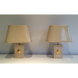 Pair of lamps with gild turtles ornaments. 1970's