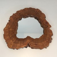 Walnut Magnifying Glass Free Form Mirror