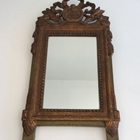 Louis the 16th Style Gilt and Painted Wood Mirror