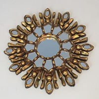 Very Small Gilt Wood Sunburst Mirror. Italian. Cir