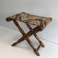 Wood and Tapestry Folding Stool. French.