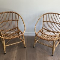 Pair of Rattan Armchairs. French. Circa 1970