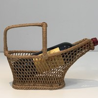 Rattan Bottle Holder. French. Circa 1970