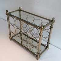 Silver Plated Bottles Holder with Glass Shelves