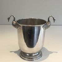 Att. to Christofle. Silver Plated Swans Ice Bucket