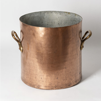 Large antique copper pot with handles