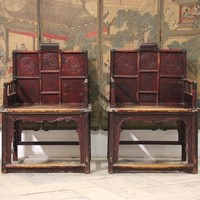 Pair of Large 19th cent Chinese Armchairs in Elm