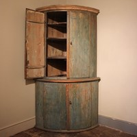 18th Cent Swedish Painted Corner Cupboard