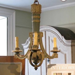 1930s French Three Light Chandelier
