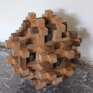 1970s Wooden Ornamental Puzzle Ball