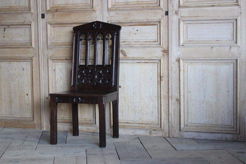 19th Cent English Gothic Hall Chair in Oak-brownrigg-19th-cent-english-gothic-hall-chair-in-oak-1556-1-main-636792642410622935.jpeg