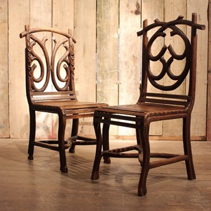 Pair of 19th Century Black Forest Hall Chairs