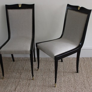 Fine Pair of 1940s Italian Ebonised Chairs