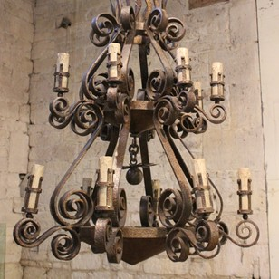 Spectacular 1950s Spanish Wrought Iron Chandelier