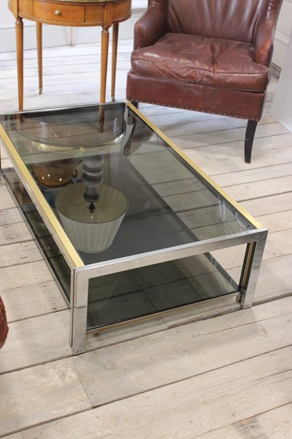 French Chrome and Brass Coffee Table, 1970's-brownrigg-a-stylish-french-chrome-and-brass-coffee-table-18-2_main_636209471835834152.jpeg