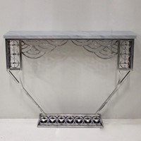 Cubist style Polished Steel Console table