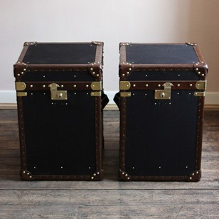 Bespoke Pair of Black Millerain & Leather Trunks