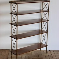 Late 19th Cent Brass & Mahogany Etagere