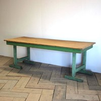 1940s Pine Dining Table in original paint