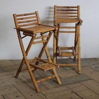 Chic Pair of 1970s Folding Bar Stools in Bamboo