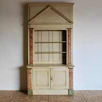 Circa 1900 Architectural French Painted Bookcase