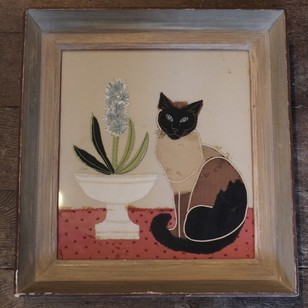 Circa 1950s Appliqué & Embroidery Picture of a Cat