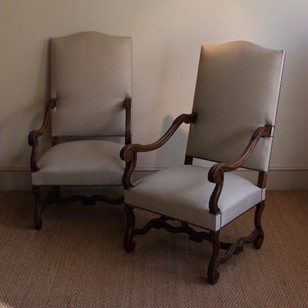 Large Pair of French Oak Armchairs