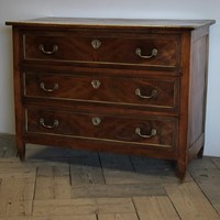 Early 19th cent French Walnut & Brass Commode