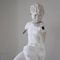 Early 20th C Life Size Plaster of a Young Boy