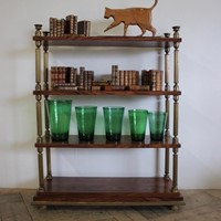 Fine 19th Cent French Walnut and Brass Shelves