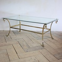 1950s French Dining Table in Brass & Polished Stee