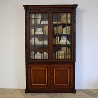 19th Cent Mahogany & Satinwood banded Bookcase