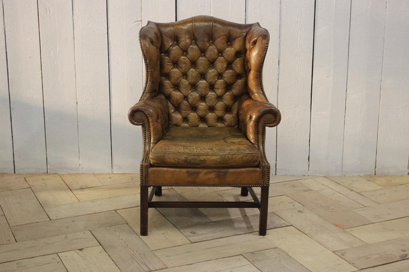 Good 1940s/50s English Wingback Leather Armchair-brownrigg-good-1940s-50s-english-wingback-leather-armchair-540-1-main-637141639184907985.jpeg