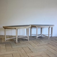 Good Pair of 1920s English Demi lune Tables