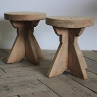 Pair of 1970s Bleached Occasional Stools