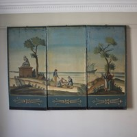 Set of three Mid C20th Painted Wallpaper Panels