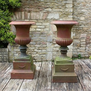 Large Pair of 19th cent Terracotta urns on plinths