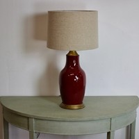 Late 19th cent Sang de Boeuf Vase Table Lamp