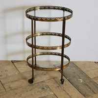 Mid 20th C French Three Tier Oval Drinks Trolley