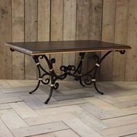Mid C20th Wrought Metal & Brass Mounted Table