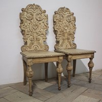 Pair 19th Cent Bleached Oak Hall Chairs