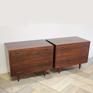 Pair Of 1950s French Rosewood Commodes