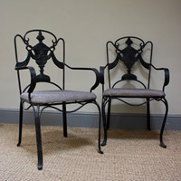 Pair of 1960s Wrought Iron Conservatory Chairs