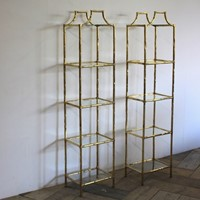 Pair of 1970s Spanish Faux Bamboo Brass Etageres