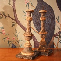 Pair of 19th cent Italian Painted Prickets