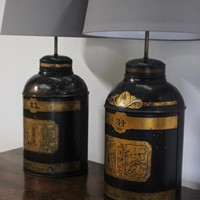 19th century Tole Chinoiserie Tea Canister Lamps