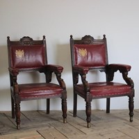 Pair of English Oak Baronial Armchairs