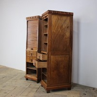 Pair of French Art Deco Tambour Side Cabinets