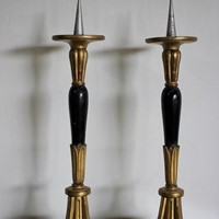 Large 19th Cent Giltwood and Ebonised Candlesticks