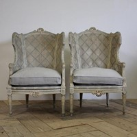 Pair of Late 19th French Painted Caned Bergeres